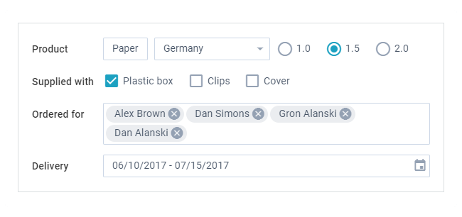 Webix JS Options Selection UI controls
